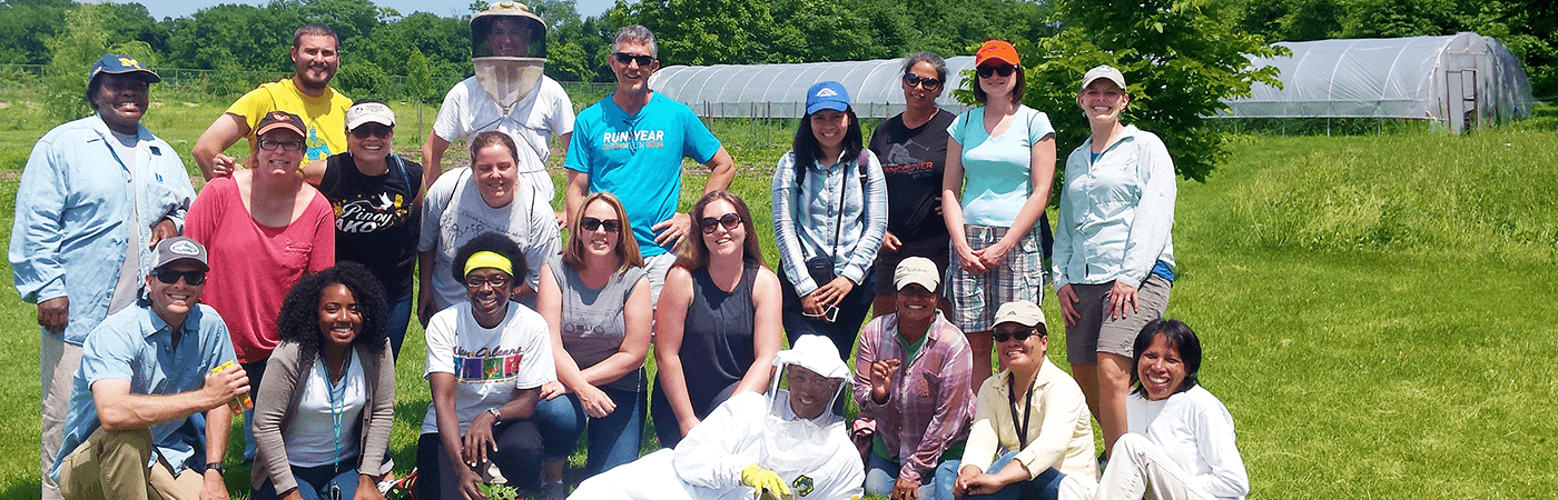 Photo of a group of educators and CBF staff at Clagett Farm.